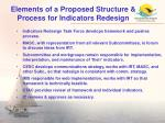 elements of a proposed structure process for indicators redesign