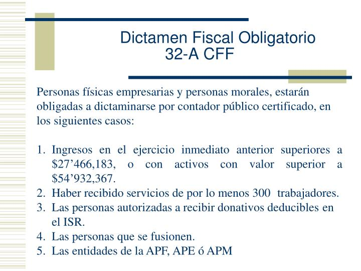 Dictamen Fiscal Obligatorio