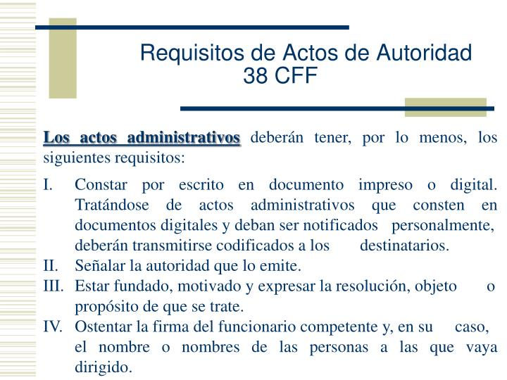 Requisitos de Actos de Autoridad