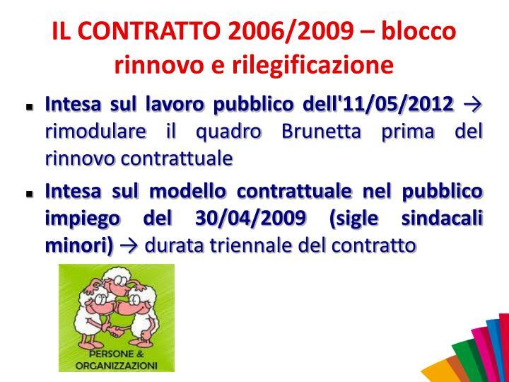 IL CONTRATTO 2006/2009 – blocco rinnovo e rilegificazione