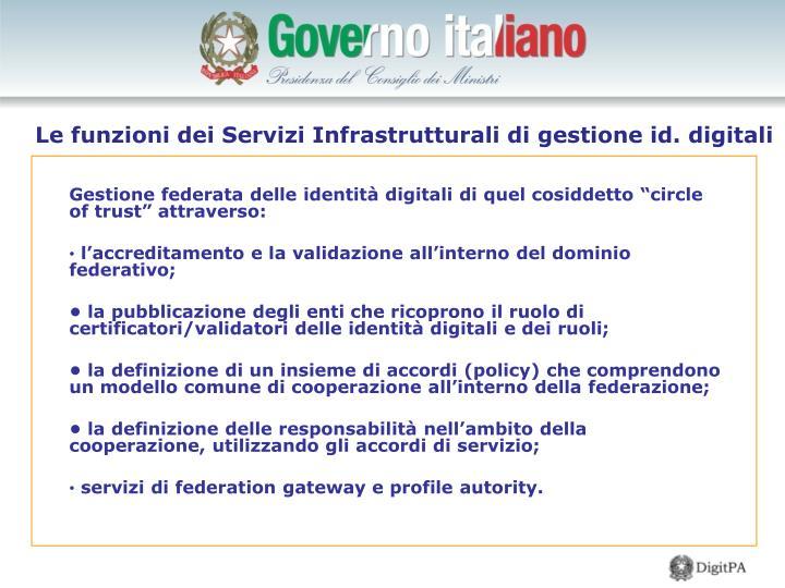 Le funzioni dei Servizi Infrastrutturali di gestione id. digitali