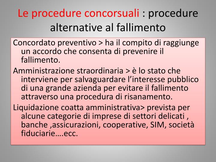 Le procedure concorsuali