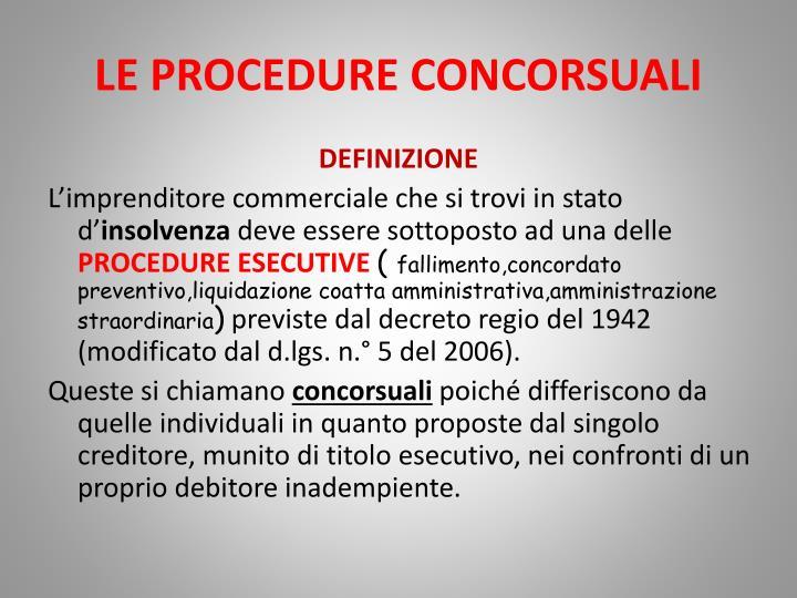 Le procedure concorsuali1
