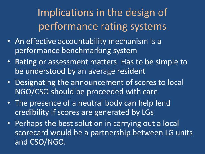 Implications in the design of performance rating systems