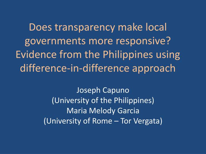 Does transparency make local governments more responsive? Evidence from the Philippines using differ...