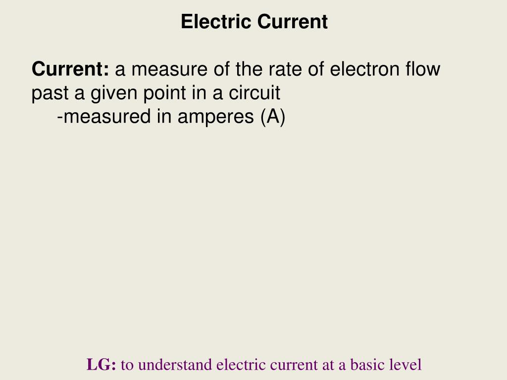 Ppt Electric Current A Measure Of The Rate Electron Flow In Circuit Past Given Point Powerpoint Presentation Id4698770