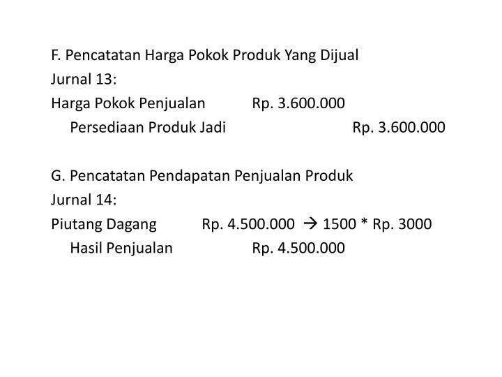 F. Pencatatan Harga Pokok Produk Yang Dijual