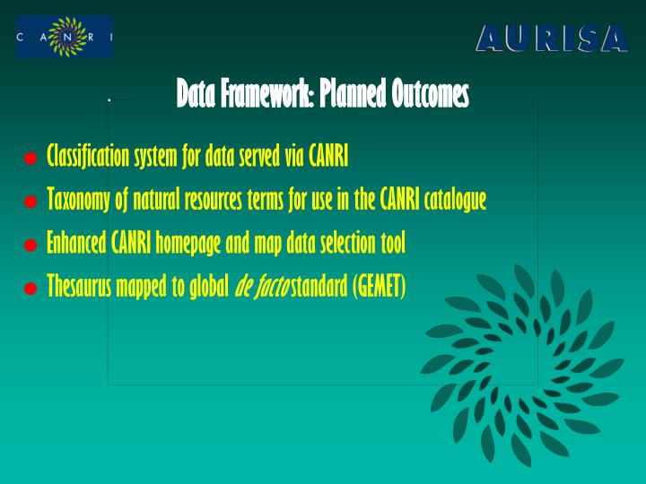 Data Framework: Planned Outcomes