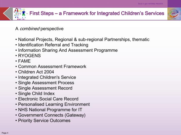 First Steps – a Framework for Integrated Children's Services