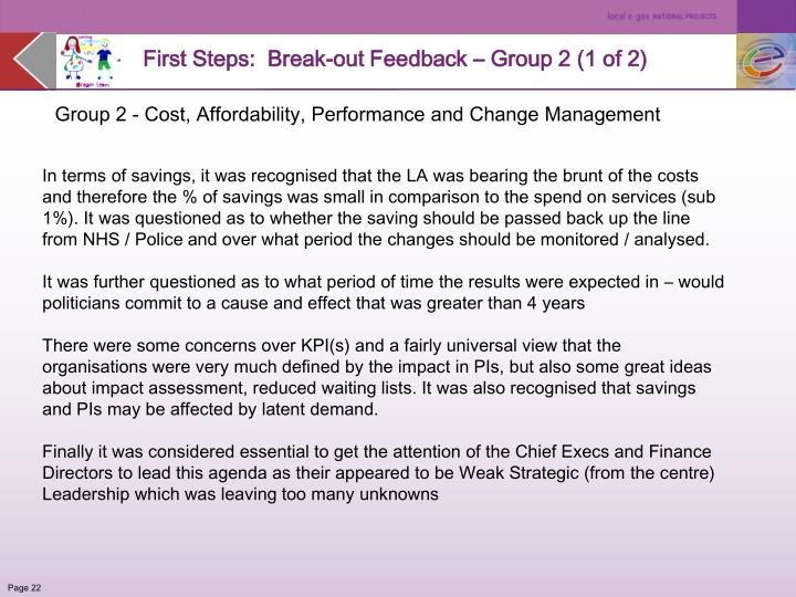 First Steps:  Break-out Feedback – Group 2 (1 of 2)