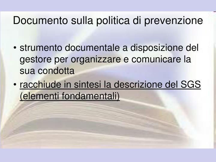 Documento sulla politica di prevenzione