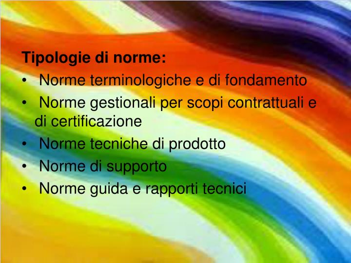 Tipologie di norme: