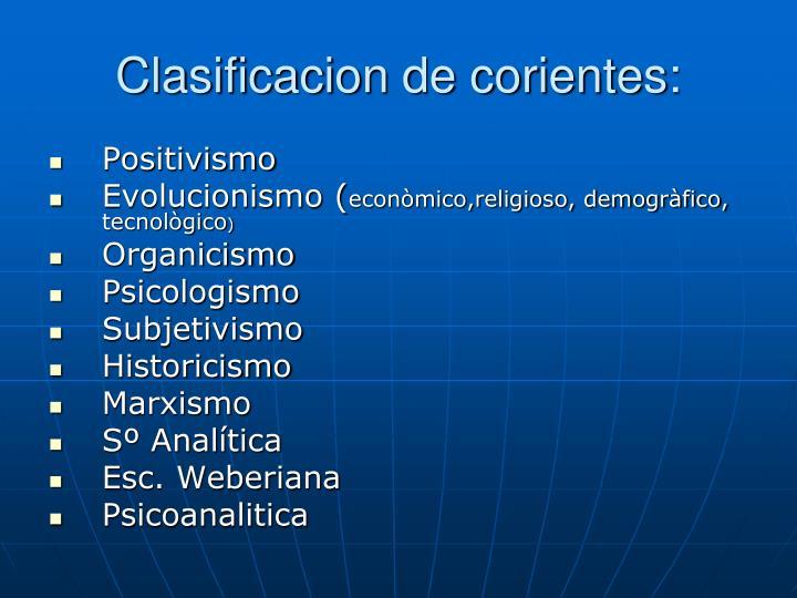 Clasificacion de corientes: