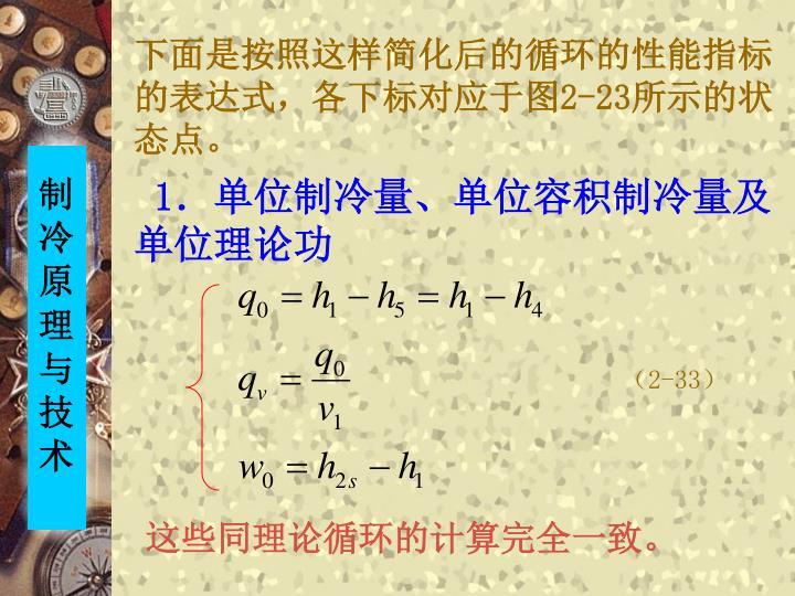 下面是按照这样简化后的循环的性能指标的表达式,各下标对应于图