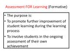 assessment for learning formative