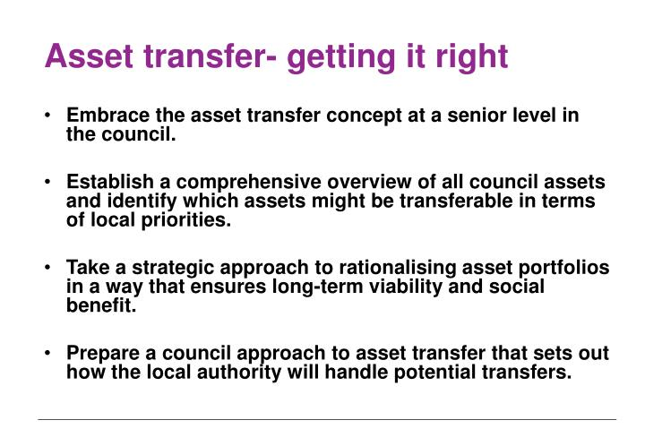 Asset transfer- getting it right
