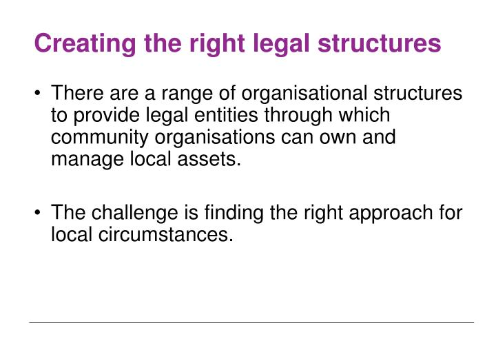 Creating the right legal structures
