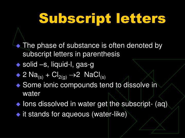 Subscript letters