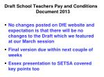 draft school teachers pay and conditions document 2013