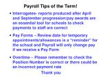 payroll tips of the term