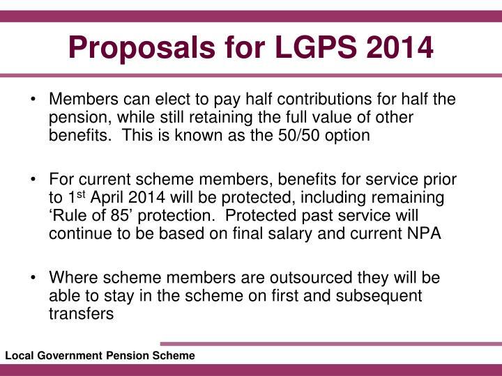 Proposals for lgps 20141