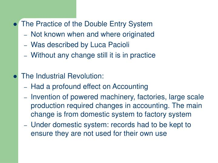 The Practice of the Double Entry System