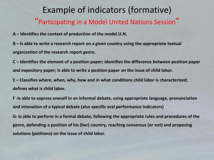 Example of indicators (formative)