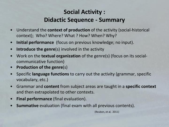 Social Activity :