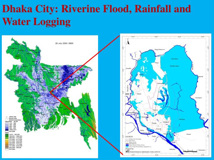 Dhaka City: Riverine Flood, Rainfall and Water Logging