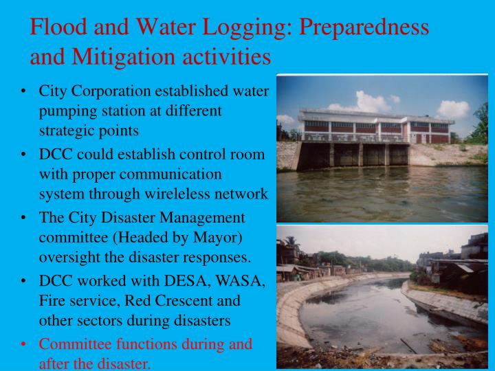 Flood and Water Logging: Preparedness and Mitigation activities