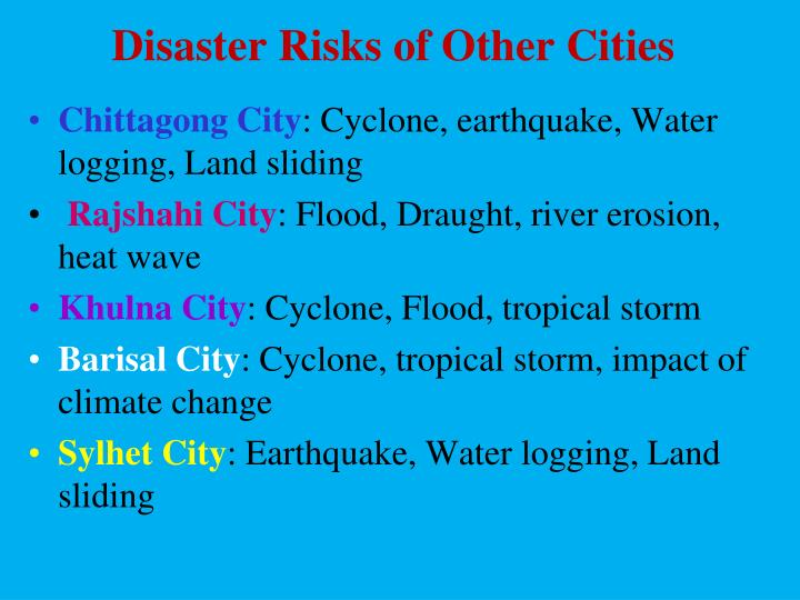 Disaster Risks of Other Cities