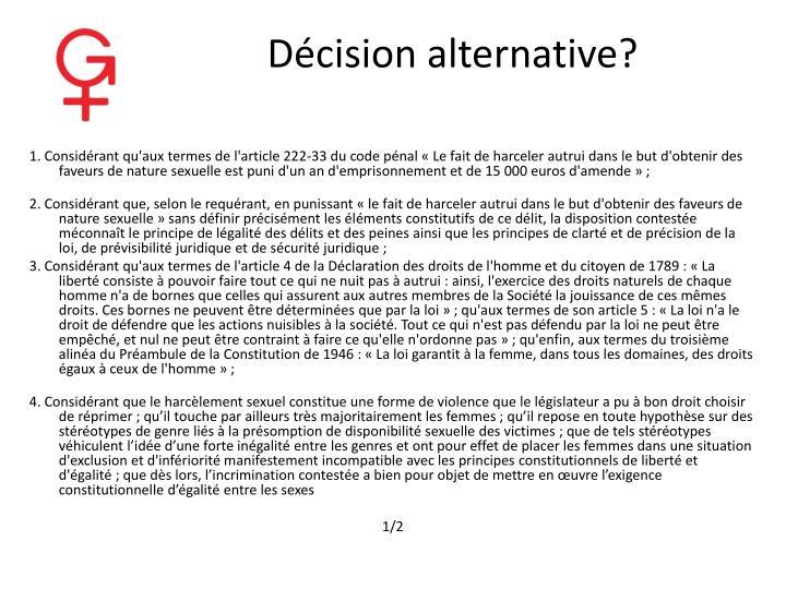 Décision alternative?