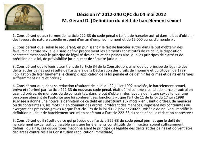 Décision n° 2012-240 QPC du 04 mai 2012