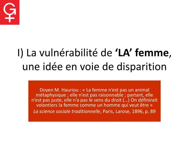 I) La vulnérabilité de