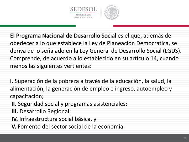 El Programa Nacional de Desarrollo Social
