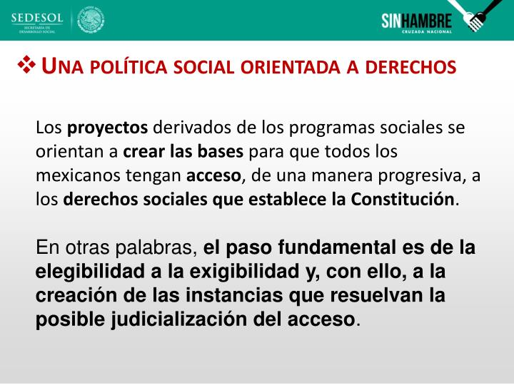 Una política social orientada a derechos