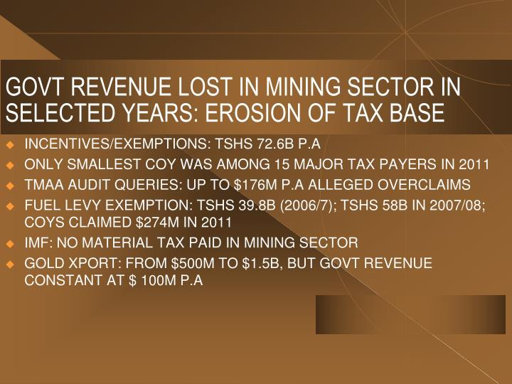 GOVT REVENUE LOST IN MINING SECTOR IN SELECTED YEARS: EROSION OF TAX BASE