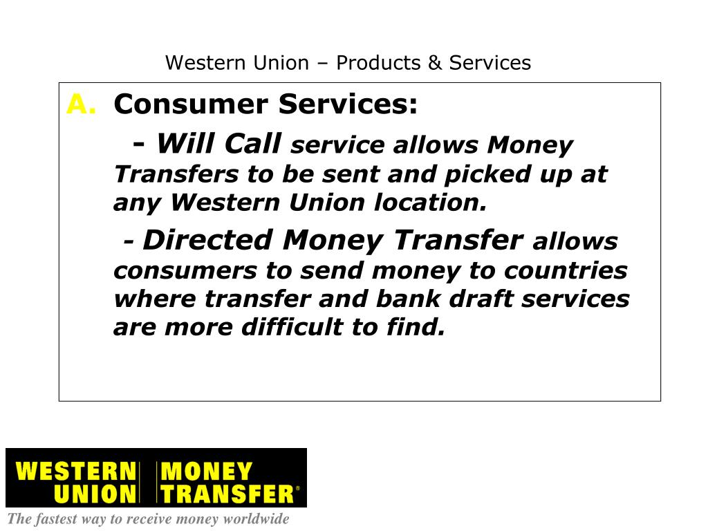 Western Union Products Services N