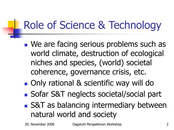 Role of science technology