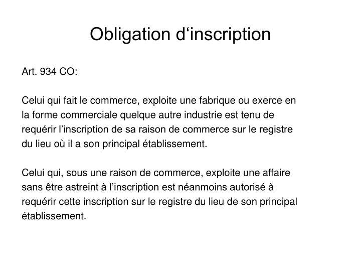 Obligation d inscription