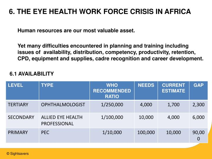 6. THE EYE HEALTH WORK FORCE CRISIS IN AFRICA