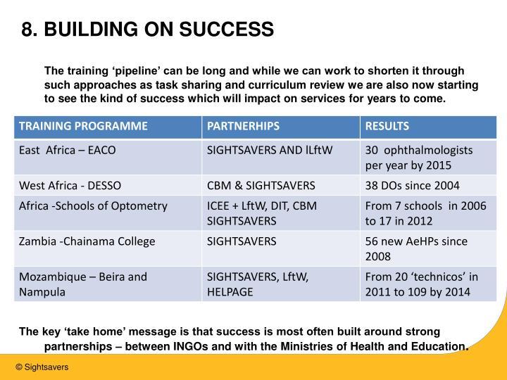 8. BUILDING ON SUCCESS
