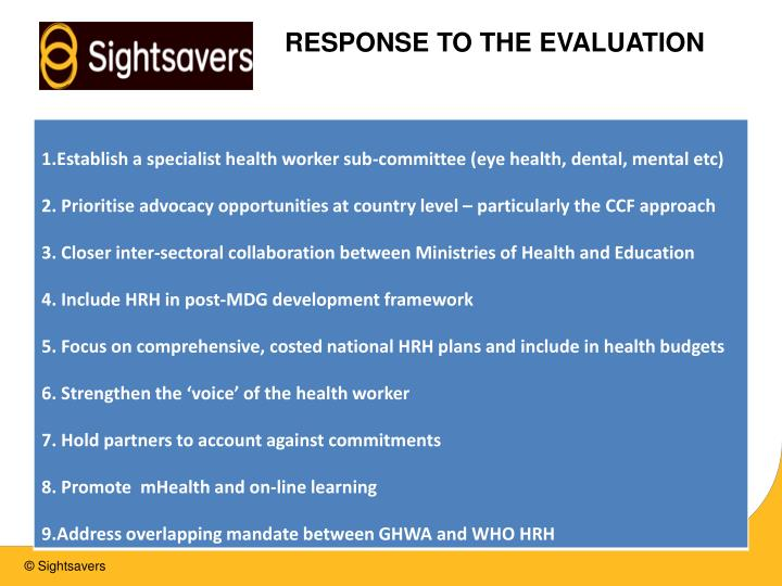 RESPONSE TO THE EVALUATION