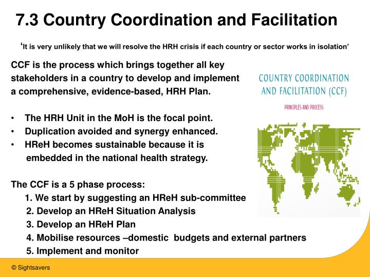 7.3 Country Coordination and Facilitation