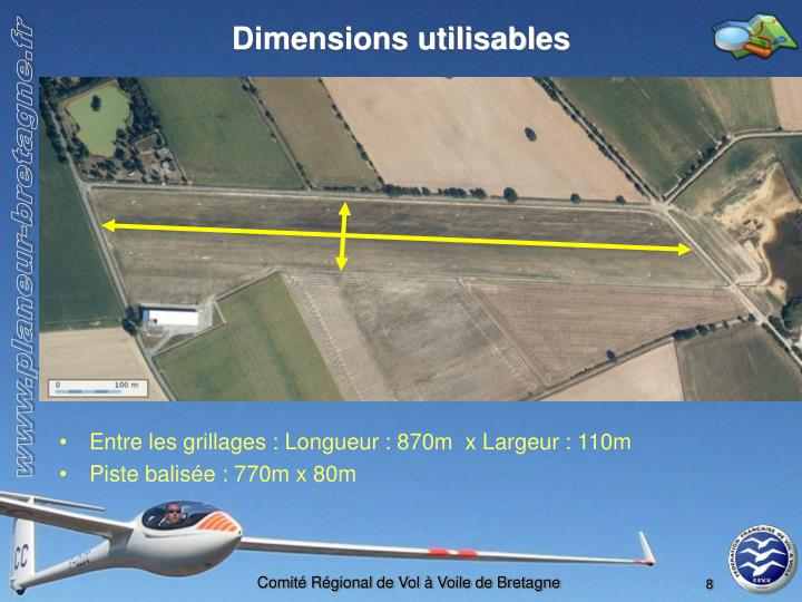 Dimensions utilisables