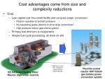 cost advantages come from size and complexity reductions
