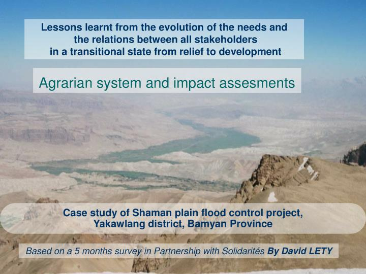 case study of shaman plain flood control project yakawlang district bamyan province n.