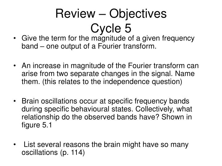 Review objectives cycle 5