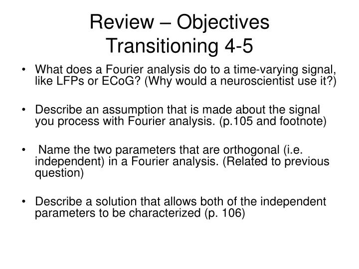 Review objectives transitioning 4 51