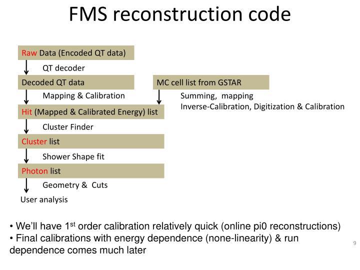 FMS reconstruction code